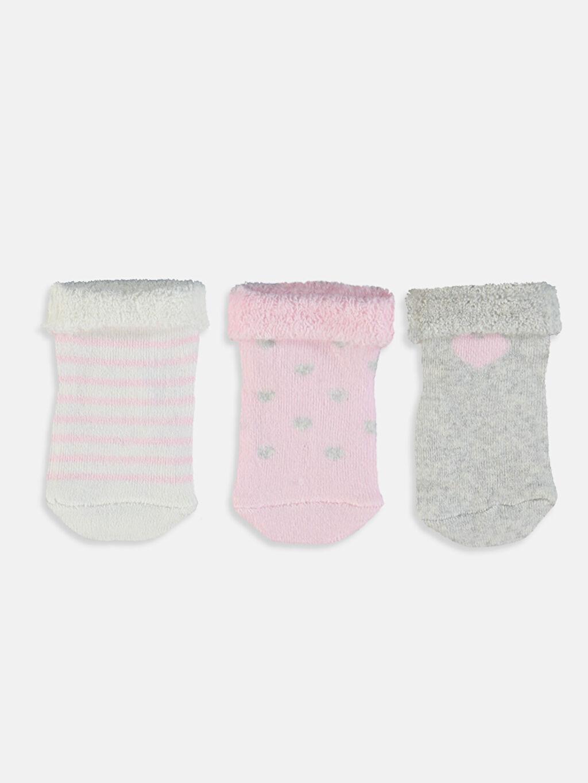 %84 Pamuk %15 Poliamid %1 Elastan  Kız Bebek Soket Çorap 3'lü