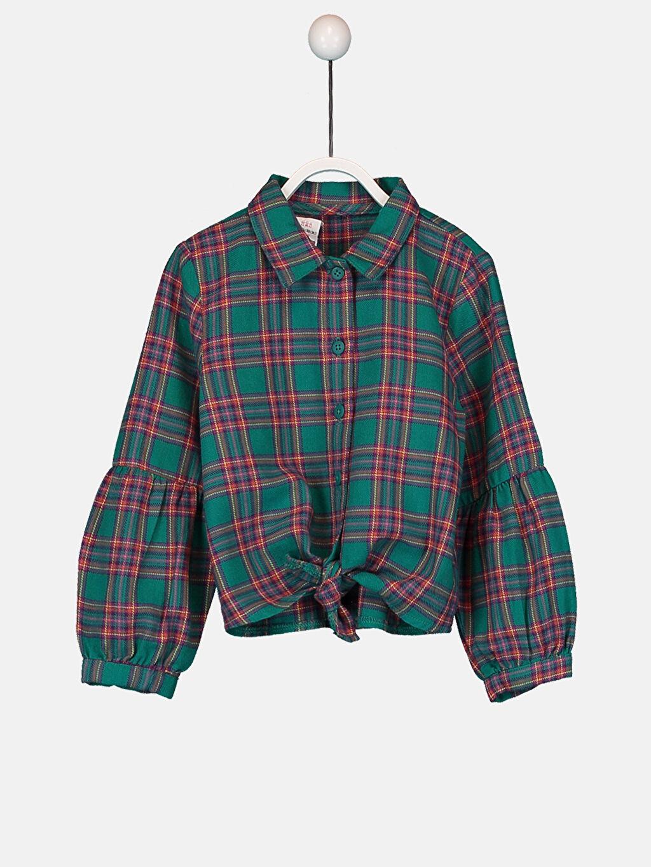 Yeşil Kız Bebek Ekose Twill Gömlek 9W9343Z1 LC Waikiki
