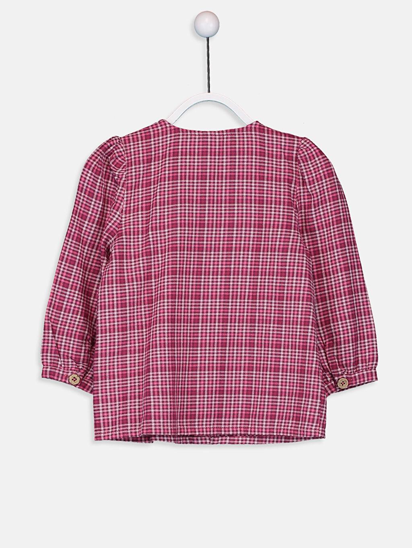 %100 Pamuk Ekoseli Standart Uzun Kol Kız Bebek Ekose Flanel Gömlek