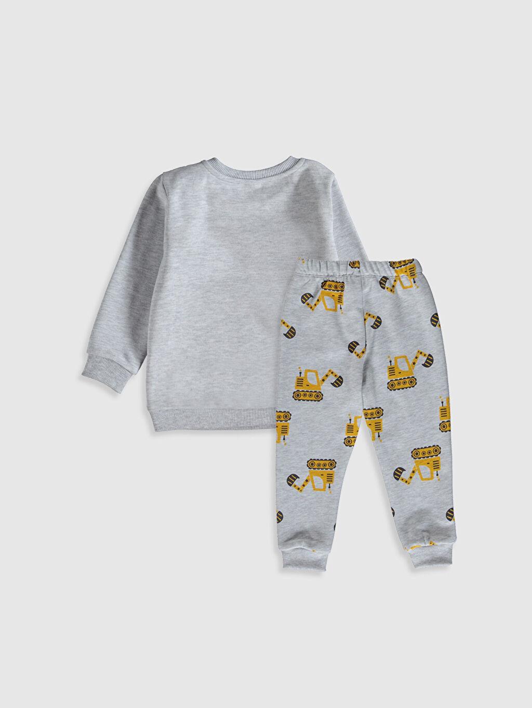 %52 Pamuk %48 Polyester  Erkek Bebek Desenli Sweatshirt ve Pantolon