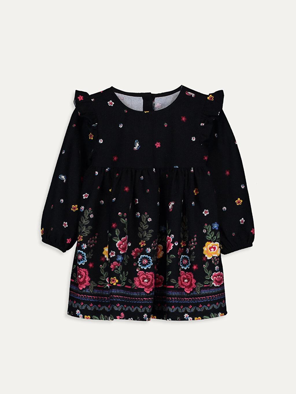 Siyah Kız Bebek Desenli Elbise 9WH308Z1 LC Waikiki
