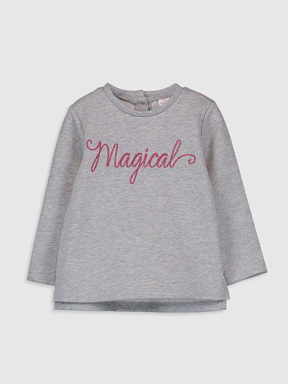 Gri Kız Bebek Yazı Baskılı Pamuklu Tişört 9WH439Z1 LC Waikiki