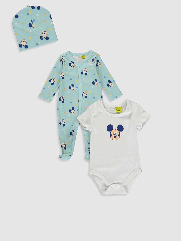 Mavi Yenidoğan Mickey Mouse Baskılı  Takım 3'lü 9WH478Z1 LC Waikiki