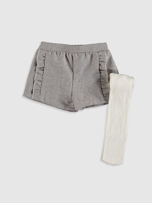 Gri Kız Bebek Şort ve Külotlu Çorap 9WH534Z1 LC Waikiki