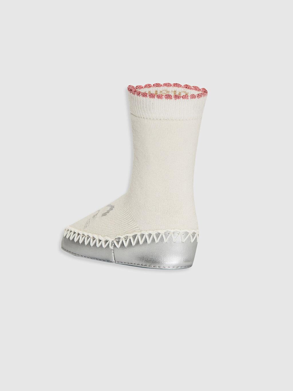 Kız Bebek Kız Bebek Desenli Ev Çorabı