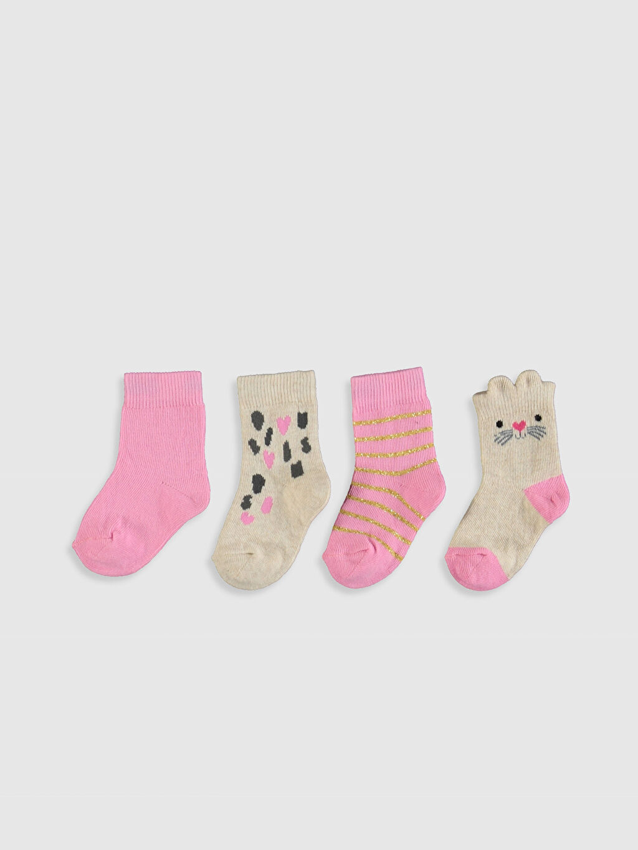 %70 Pamuk %28 Poliamid %2 Elastan  Kız Bebek Soket Çorap 4'lü