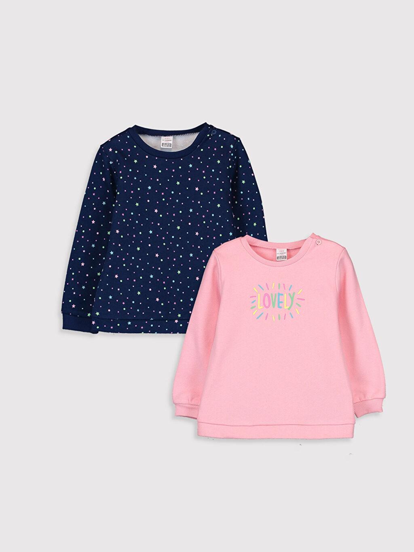 Pembe Kız Bebek Desenli Sweatshirt 2'li 9WI948Z1 LC Waikiki