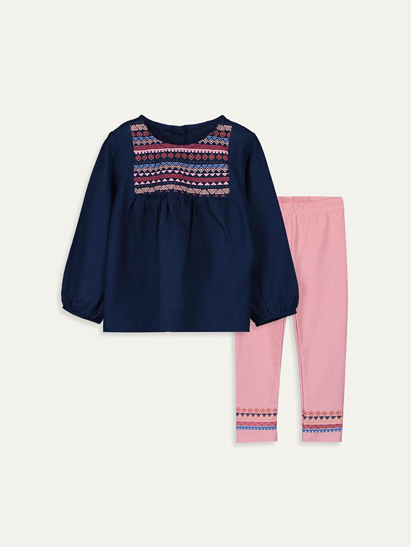 İndigo Kız Bebek Desenli Bluz ve Tayt 9WI971Z1 LC Waikiki