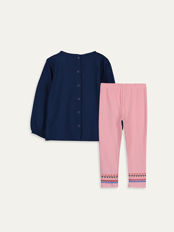 %100 Pamuk %76 Pamuk %20 Polyester %4 Elastan  Kız Bebek Desenli Bluz ve Tayt