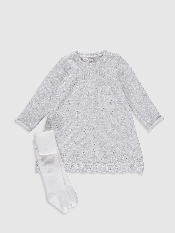 Gri Kız Bebek Triko Elbise ve Külotlu Çorap 9WJ662Z1 LC Waikiki