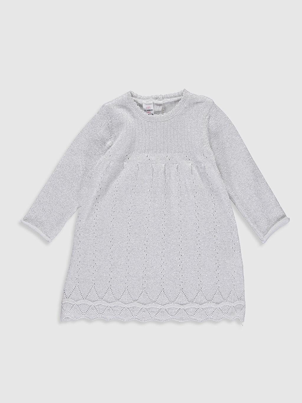 %89 Pamuk %5 Poliester %6 Metalik iplik  Kız Bebek Triko Elbise ve Külotlu Çorap