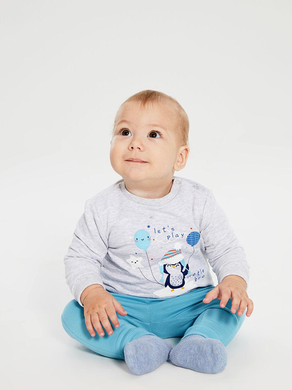 Ekru Erkek Bebek Baskılı Tişört 2'li