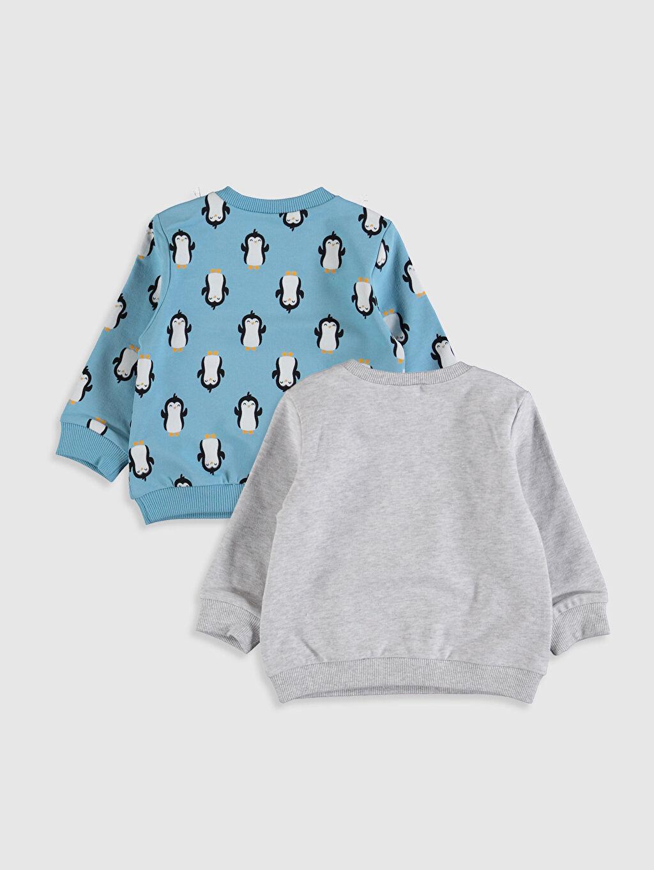 %92 Pamuk %8 Elastan  Erkek Bebek Baskılı Tişört 2'li