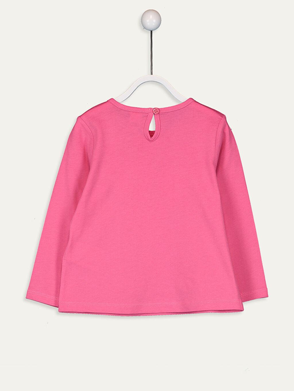 %100 Pamuk Baskılı Uzun Kol Tişört Bisiklet Yaka Standart Kız Bebek Baskılı Pamuklu Tişört