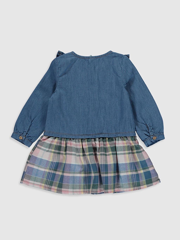 %100 Pamuk Ekoseli Kız Bebek Jean Elbise