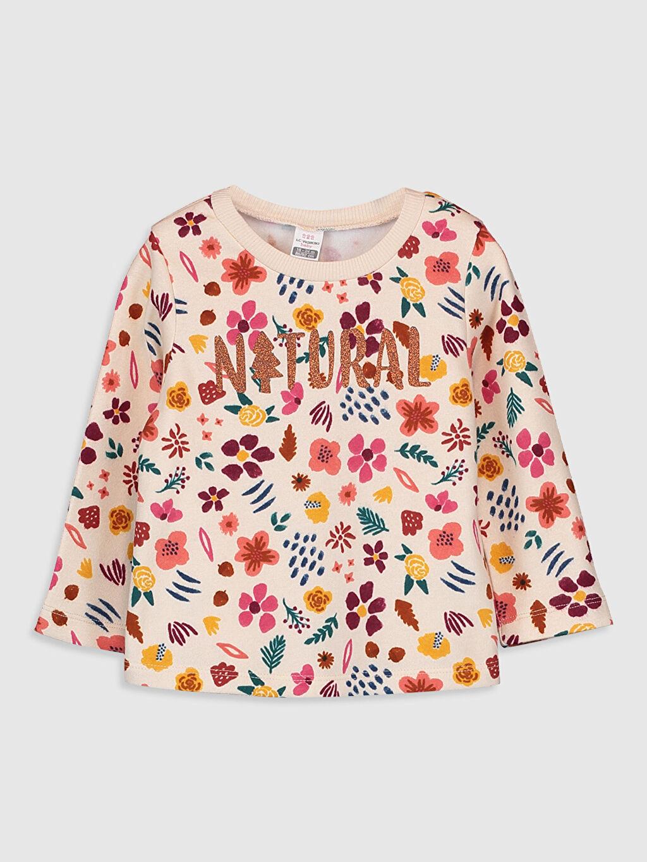 Ekru Kız Bebek Desenli Sweatshirt 9WK244Z1 LC Waikiki