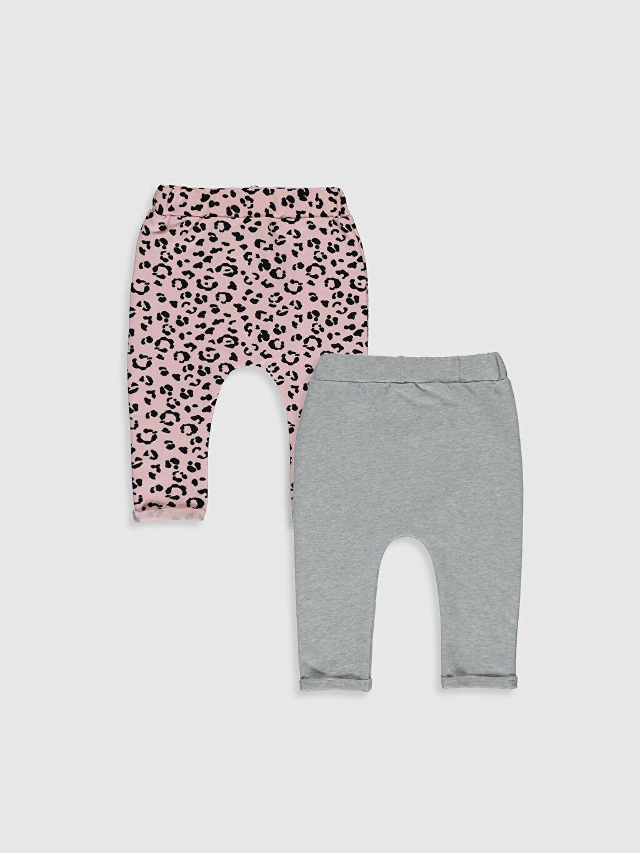 %95 Pamuk %5 Elastan  Kız Bebek Pantolon 2'li