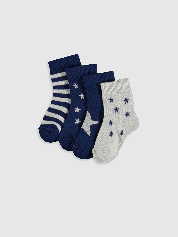 Çok Renkli Erkek Bebek Desenli Soket Çorap 4'lü 9WL952Z1 LC Waikiki