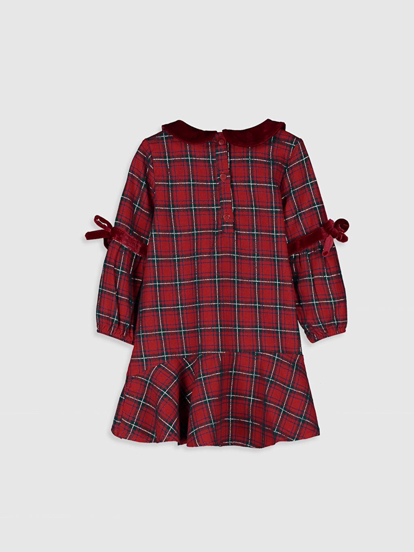 %98 Pamuk %1 Polyester %1 Metalik iplik Ekoseli Kız Bebek Ekoseli Elbise