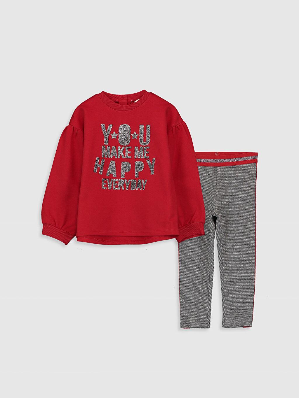 Kırmızı Kız Bebek Yazı Baskılı Sweatshirt ve Tayt 9WM326Z1 LC Waikiki