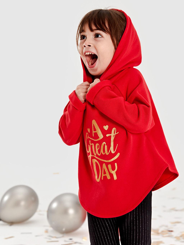 %90 Pamuk %10 Polyester Kız Bebek Yazı Baskılı Sweatshirt
