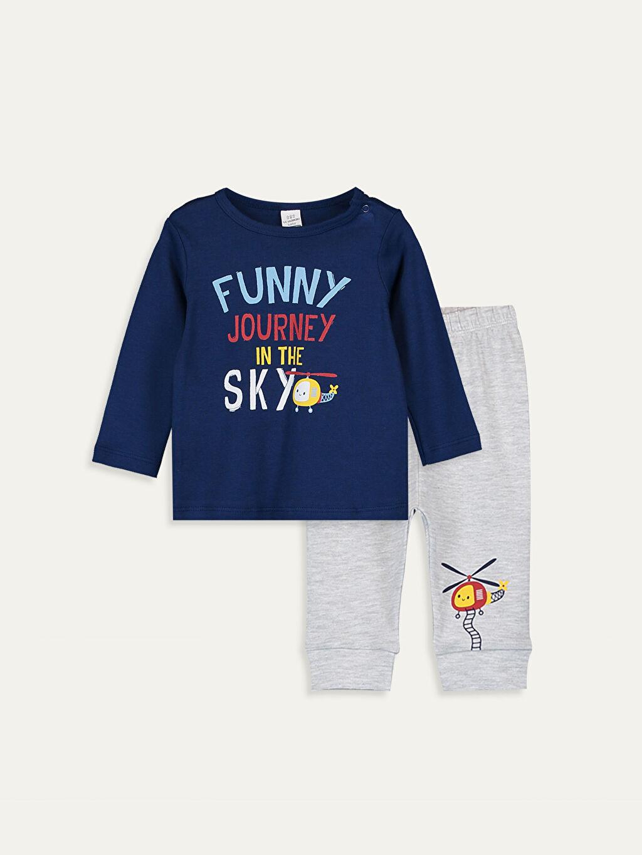 Lacivert Erkek Bebek Baskılı Pijama Takımı 9WM557Z1 LC Waikiki