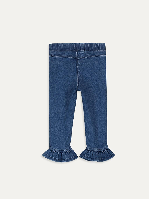 %90 Pamuk %7 Polyester %3 Elastan Standart Normal Bel Kız Bebek Jean Pantolon