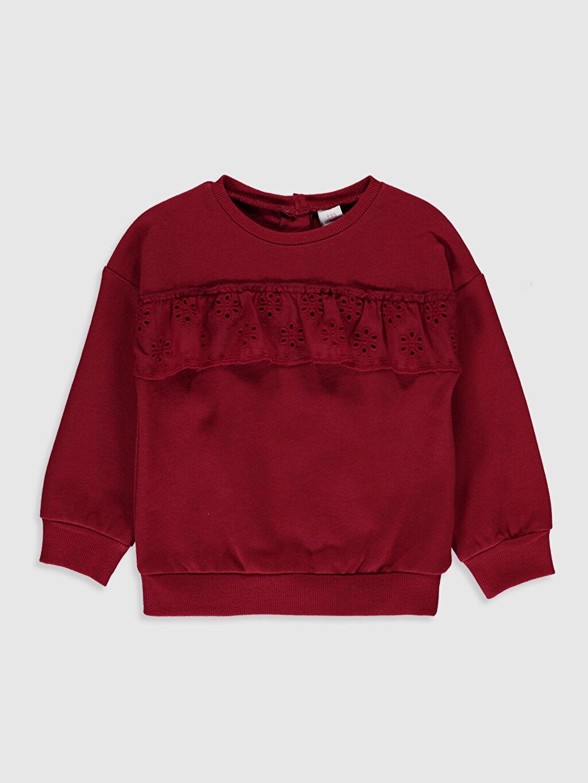 Kırmızı Kız Bebek Fırfırlı Sweatshirt 9WN331Z1 LC Waikiki