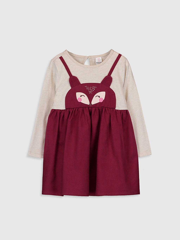 Ekru Kız Bebek Desenli Elbise 9WN697Z1 LC Waikiki