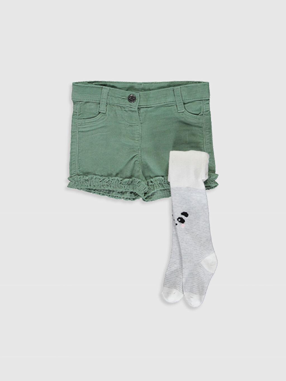 Yeşil Kız Bebek Gabardin Şort ve Külotlu Çorap 9WO261Z1 LC Waikiki