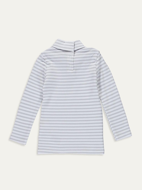 %95 Pamuk %5 Elastan Standart Çizgili Uzun Kol Tişört Balıkçı Yaka Kız Bebek Pamuklu Çizgili Tişört