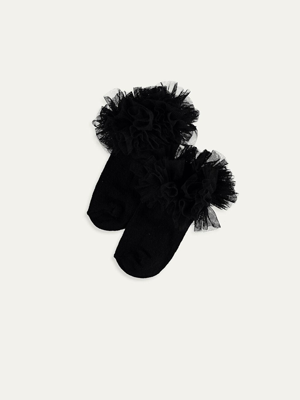 Siyah Kız Bebek Patik Çorap 9WO623Z1 LC Waikiki