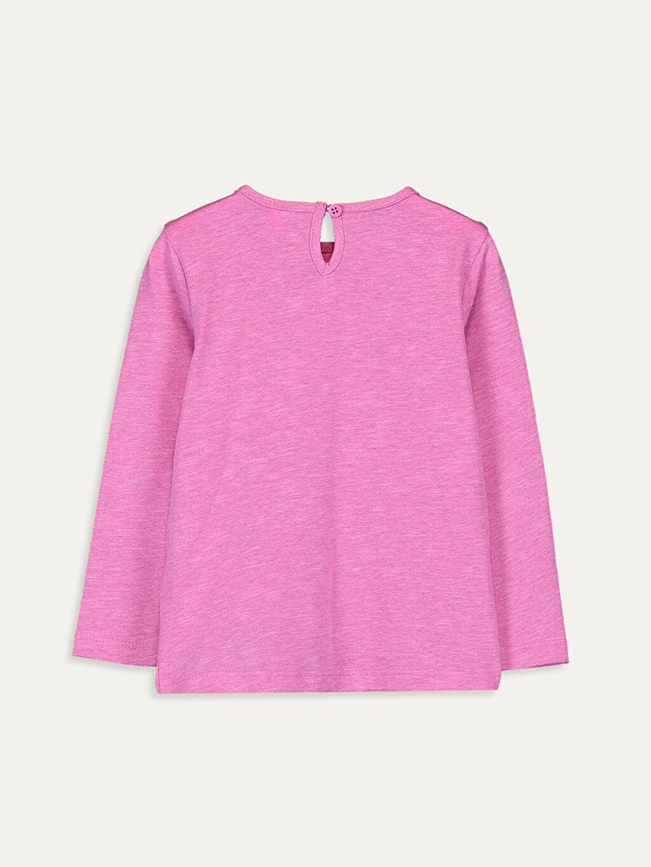 %47 Pamuk %53 Polyester Standart Baskılı Uzun Kol Tişört Bisiklet Yaka Kız Bebek Baskılı Tişört