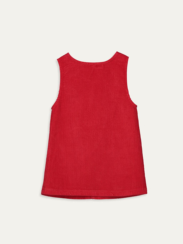%100 Pamuk Düz Kız Bebek Kadife Elbise