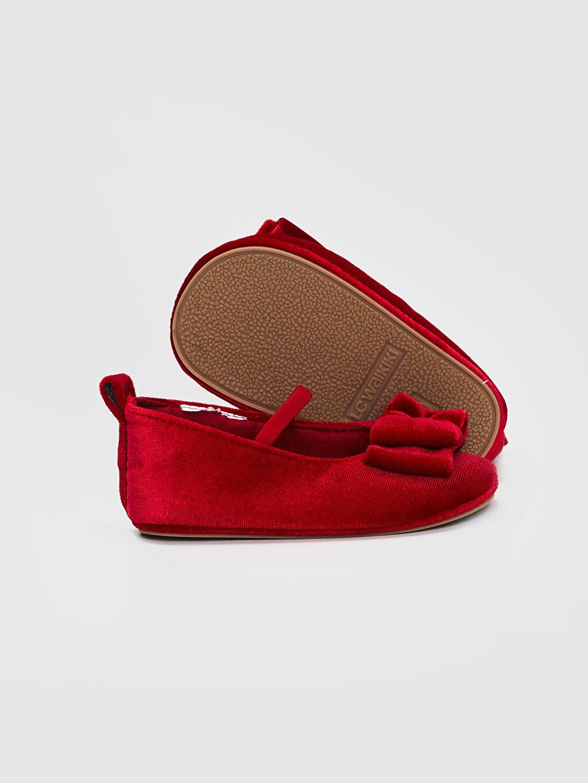 Kız Bebek Kız Bebek Fiyonk Detaylı Kadife Babet Ayakkabı
