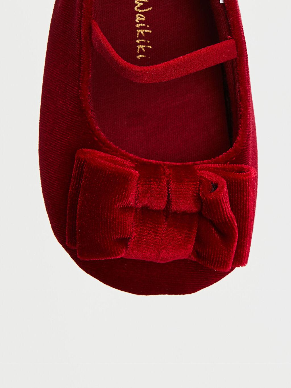 LC Waikiki Kırmızı Kız Bebek Fiyonk Detaylı Kadife Babet Ayakkabı