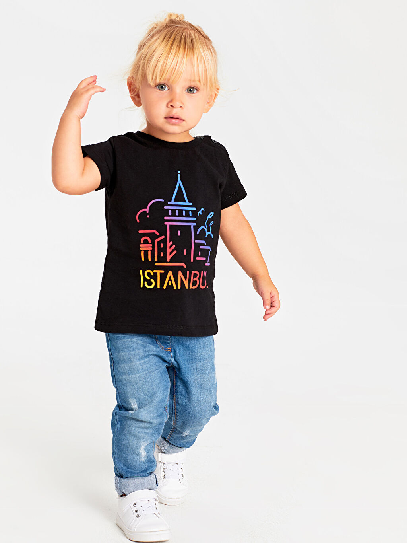 Erkek Bebek Unisex Bebek İstanbul Temalı Pamuklu Tişört