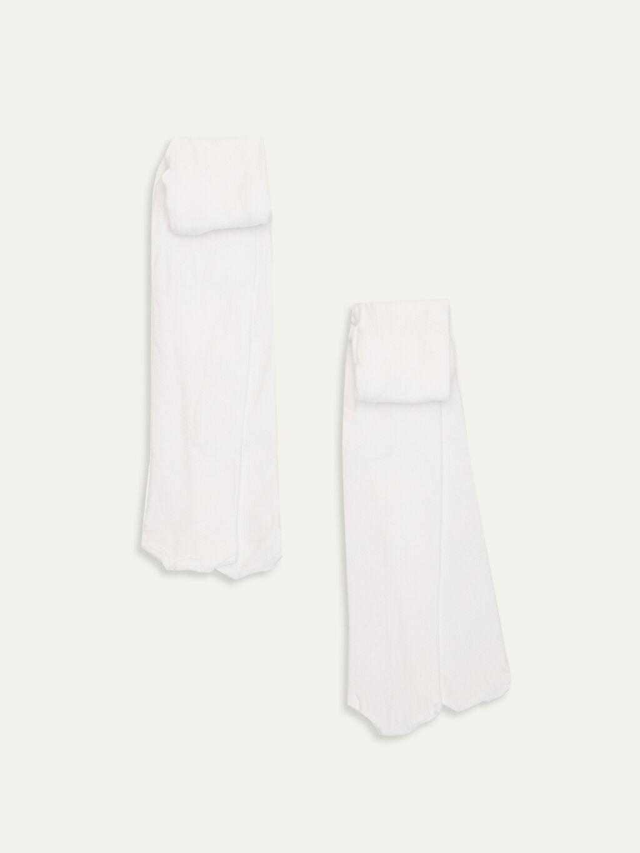 Beyaz Kız Bebek Külotlu Çorap 2'li 9WQ378Z1 LC Waikiki