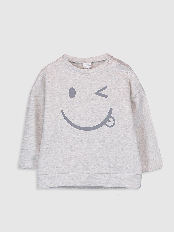 Bej Erkek Bebek Baskılı Sweatshirt 9WQ627Z1 LC Waikiki