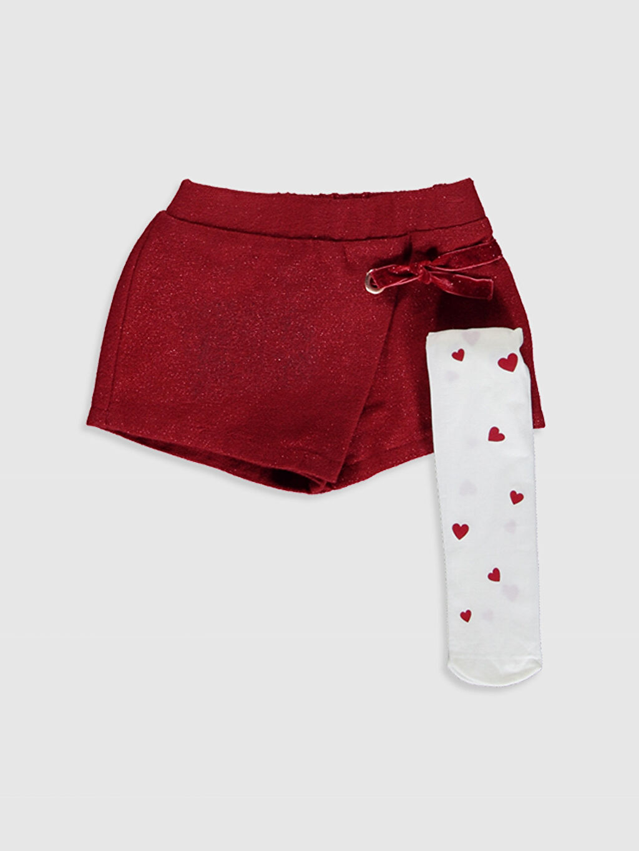 Kırmızı Kız Bebek Şort ve Külotlu Çorap 9WQ772Z1 LC Waikiki
