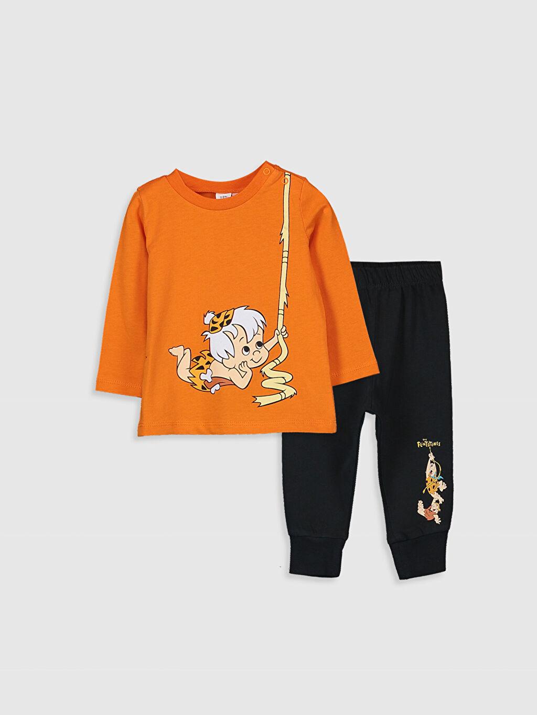 Turuncu Erkek Bebek Taş Devri Bam Bam Baskılı Pijama Takımı 9WQ868Z1 LC Waikiki