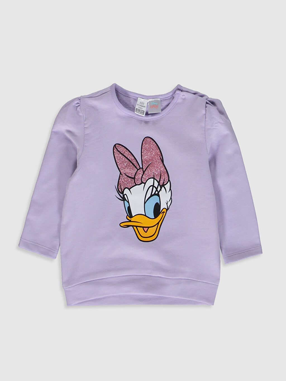 Lila Kız Bebek Daisy Duck Baskılı Sweatshirt 9WR016Z1 LC Waikiki