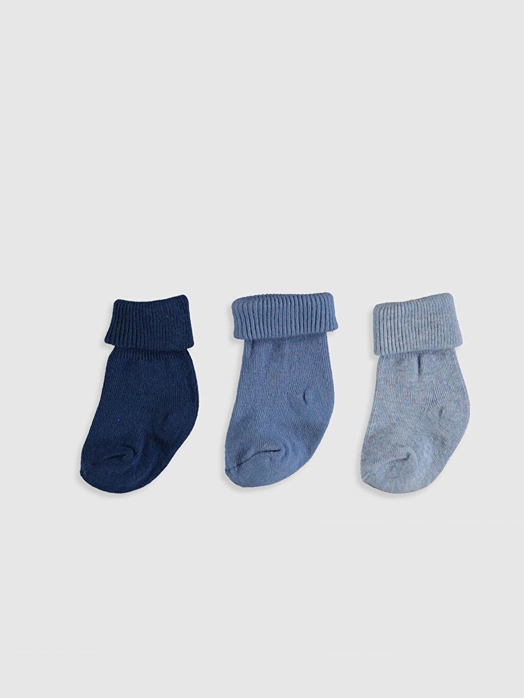 %79 Pamuk %20 Poliamid %1 Elastan  Erkek Bebek Soket Çorap 3'lü