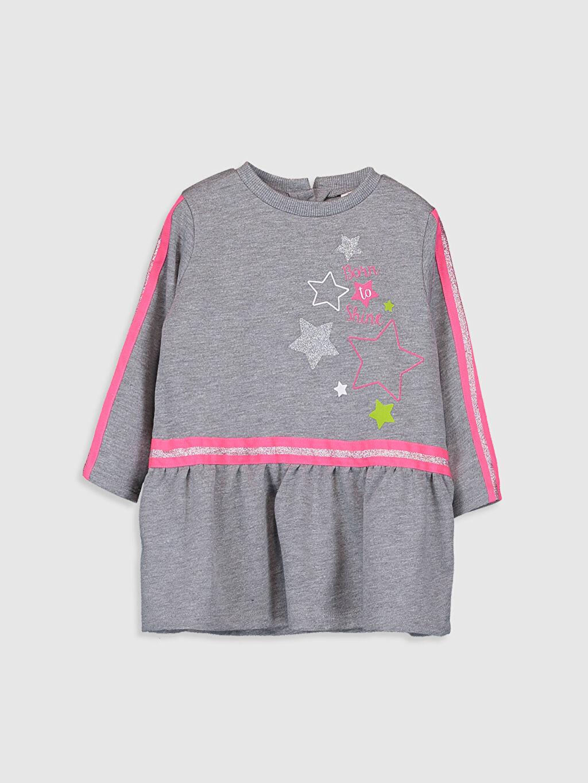 Gri Kız Bebek Desenli Elbise 9WS579Z1 LC Waikiki
