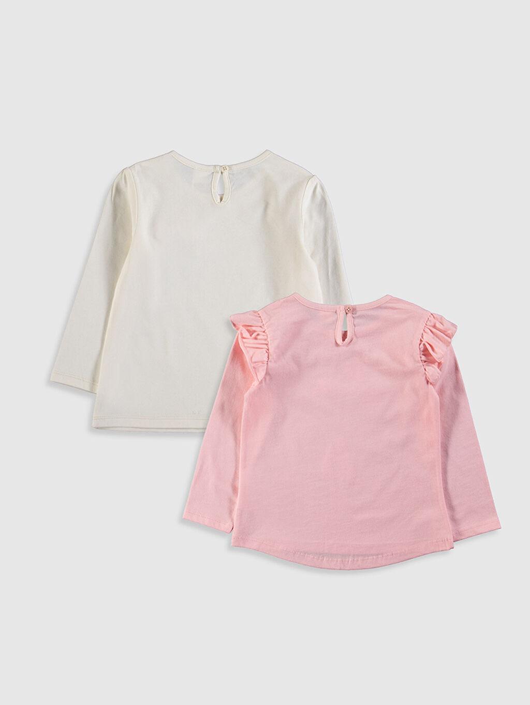 %100 Pamuk Baskılı Uzun Kol Tişört Bisiklet Yaka Kız Bebek Baskılı Tişört 2'li
