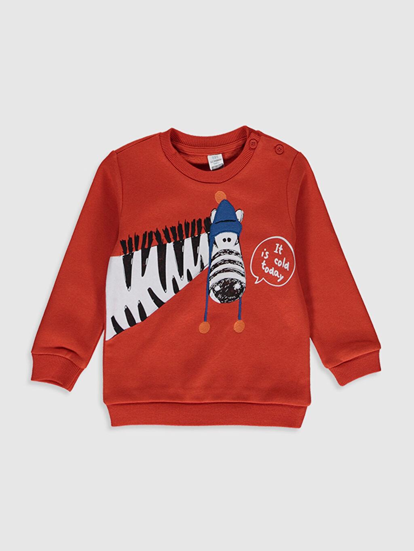Turuncu Erkek Bebek Baskılı Sweatshirt 9WT206Z1 LC Waikiki