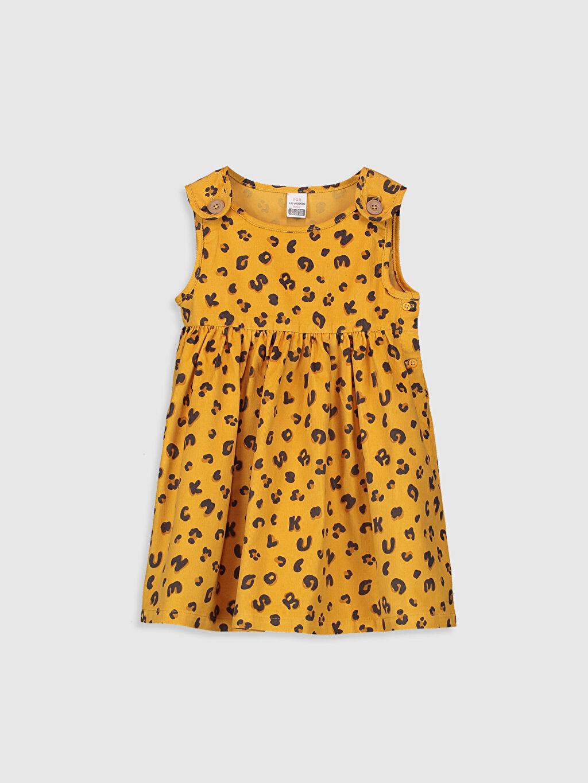 Sarı Kız Bebek Pamuklu Desenli Elbise 9WT306Z1 LC Waikiki