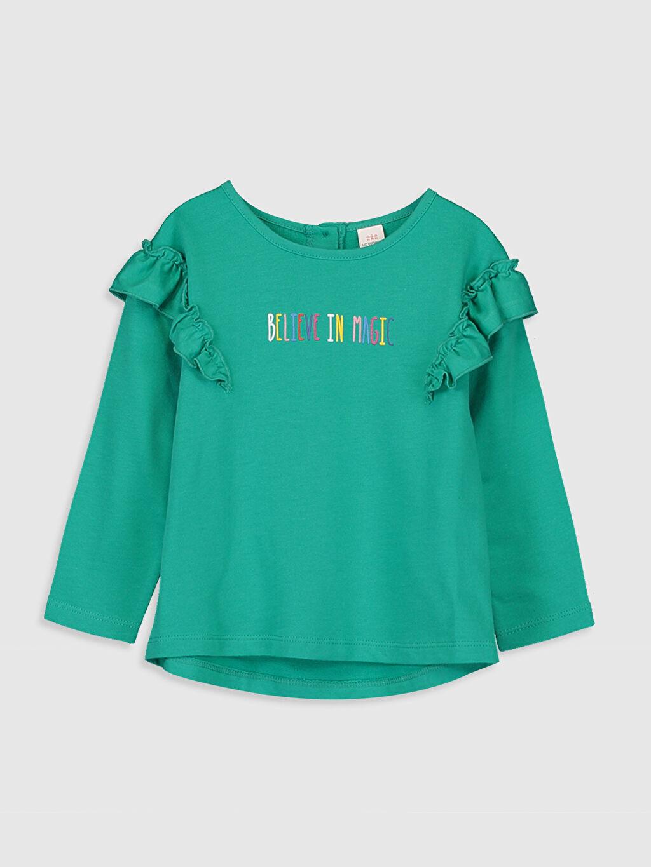 Yeşil Kız Bebek Yazı Baskılı Sweatshirt 9WT437Z1 LC Waikiki