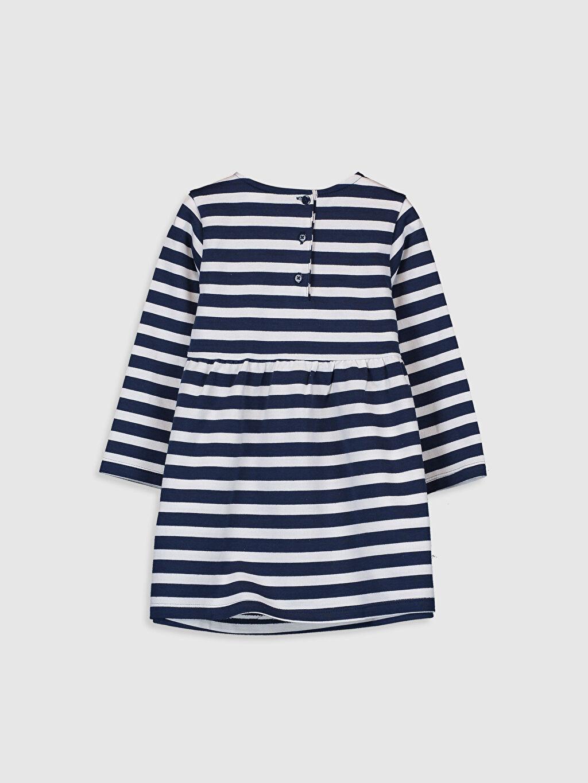 %100 Pamuk Çizgili Kız Bebek Çizgili Elbise