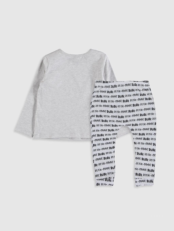 %96 Pamuk %4 Elastan  Erkek Bebek Yazı Baskılı Pijama Takımı